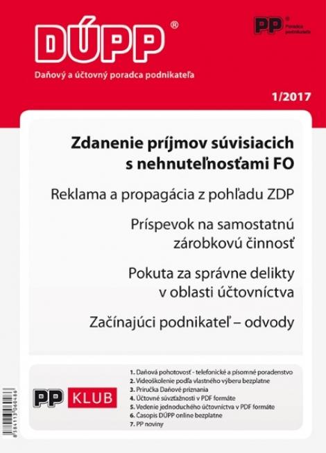 DUPP 1/2017 Zdanenie príjmov súvisiacich s nehnuteľnosťami FO -