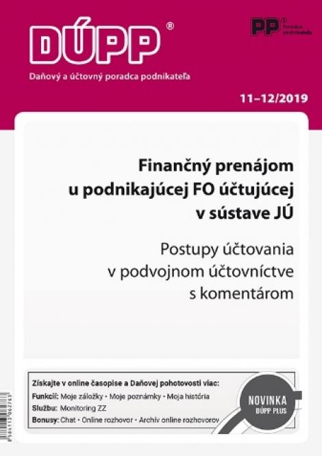 DUPP 11-12/2019 Finančný prenájom u podnikajúcej FO účtujúcej v sústave JÚ -