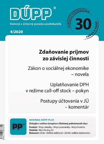 DUPP 4/2020 Zdaňovanie príjmov zo závislej činnosti