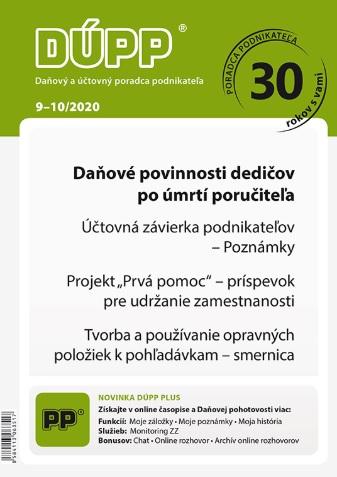 DUPP 9-10/2020 Daňové povinnosti dedičov po úmrtí poručiteľa