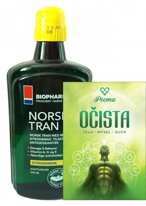 Olej Norsk Tran + kniha Očista - Vitamín D... (375 ml) + kniha Očista