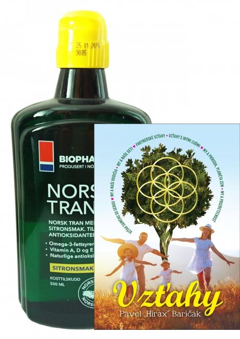 Olej Norsk Tran + kniha Vzťahy - Vitamín D... (375 ml) + kniha Vzťahy