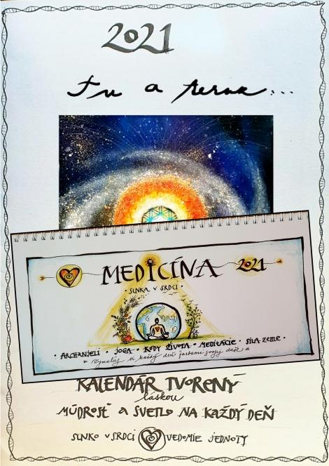 Tu a teraz 2021 + Medicína Slnka v srdci 2021 (nástenný + stolový kalendár v akcii) - Kalendáre - Janka Sofia Thomková - Slnko v srdci