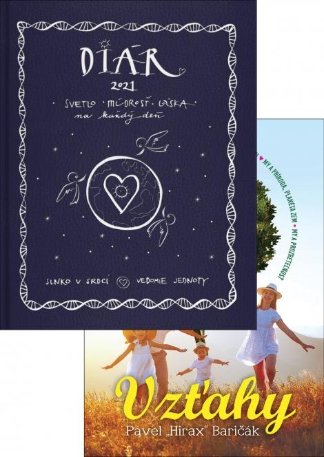 Diár 2021 (Slnko v srdci, Vedomie jednoty) + Vzťahy - Svetlo, múdrosť, láska na každý deň (diár) + kniha od Hiraxa