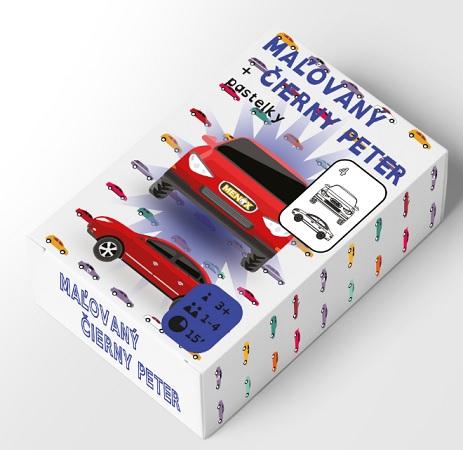 Maľovaný Čierny Peter autá (26 kariet + pastelky)