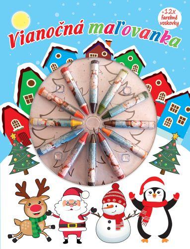 Vianočná maľovanka + 12 x farebné voskovsky