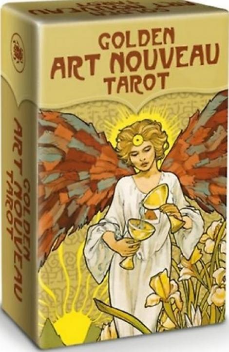 Golden Art Nouveau Tarot - Mini - 78 Gold Print Tarot Cards with Instructions